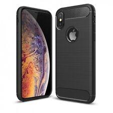 For iPhone XS/X - Slim Fit Carbon Fiber Case Reinforced Bumper Cover [Black]