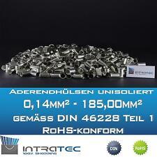 Aderendhülsen unisoliert 0,14mm²-185,00mm² in verschiedenen Größen nach DIN