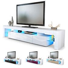 TV Unit Stand Cabinet Lima V2 LED 2 Doors 189cm White High Gloss Wood Oak Effect