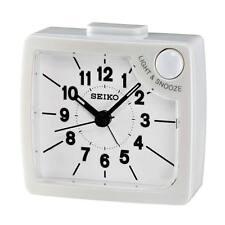 [Seiko] Bedside Alarm Clock WHITE QHE019W+Free Ship(100% AUTHENTIC),Beep,new