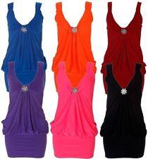 Neu Damen Neon Einfarbig Farbig Mini Broche Kleid 8-22