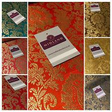 dorés Fleur Indien métallique imprimé Banarsi fausse SOIE BROCART tissu 102cm