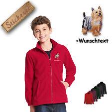 Children - Fleece Jacket Embroidery Australian Silky Terrier M1 + Desired Text