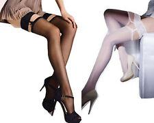 Bas autofixant sexy-femme noir blanc effet porte-jarretelles top dentelle Gatta