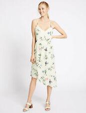 ex M&$ Summer Printed Dress Layer Lined Adjust Straps Bias Cut Shape Ivory Mix