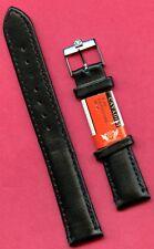 VINTAGE OMEGA STEEL BUCKLE & GENUINE BLACK CALF LEATHER CAVADINI STRAP BAND 18mm
