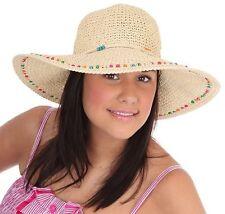 Femmes tissé Paille Large Bord Chapeau avec Perle Bande