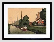 Cartolina PAESI BASSI NUOVA Canal AMSTERDAM Barca Chiatta incorniciato stampa b12x12571