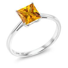 1.00 Ct Princess Yellow Citrine 10K White Gold Ring