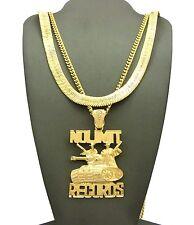 "Hip Hop No Limit Records 3mm 30"" Cuban, 9mm 24"" Herringbone Chain 2 Necklace Set"