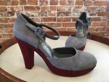 Marchez Vous Giselle Grey Suede & Tweed Platform Pumps NEW