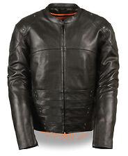 Mens Black Naked Leather SWAT Racer Jacket, Triple Side Straps, Gun Pockets