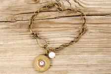20 Gauge Brass Shotgun Shell & Single Pearl Chain Bracelet Remington FREE SHIP