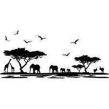Sticker Décor Nature Afrique, Eléphants, Girafes, 15x34 cm et 30x67 cm (AFRI002)