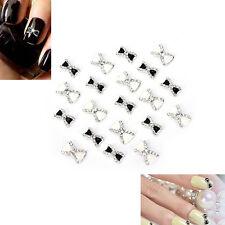 10X 3D Alloy Nail Art Decoration Bow Knot Glitter Rhinestones Manicure Jewelry@