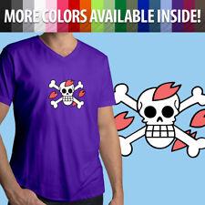 One Piece Chopper Jolly Roger Anime Manga Skull Flag Mens Tee V-Neck T-Shirt