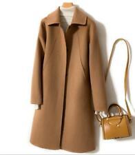Women Korean 100% Wool Coat Lapel Trench Slim Fit Maxi Cashmere Jacket Coat Fall
