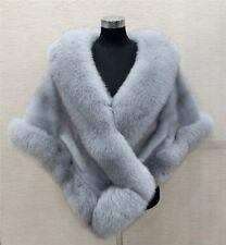 New Womens Fox Fur Collar Cape Wedding Mink Fur Coat Outdoor Warm Fashion Jacket