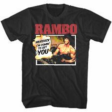 Rambo Comic Cartoon Men's T Shirt Murdock I'm Coming to Get You Military Movie