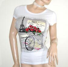 CAMISA de manga corta blanco mujer camiseta algodón lentejuelas T-shirt trui G18