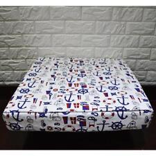 AL262t Royal Blue Black White Anchor Cotton Canvas 3D Box Seat Cushion Cover Siz