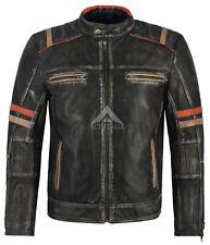 Para Hombre Chaqueta de cuero negro estilo vintage estilo motociclista de 100% Piel De Cordero 2633