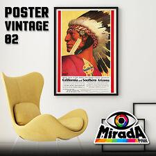 POSTER VINTAGE SANTA FE CALIFORNIA ARIZONA CARTA FOTOGRAFICA 35x50 50x70 70x100