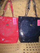 betsey johnsob be mine,pink,dark blue handbag,tote,satchel,heart shopper,CHAIN