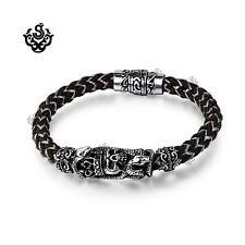Silver bracelet bikies chain stainless steel skull crown snake chocolate silicon