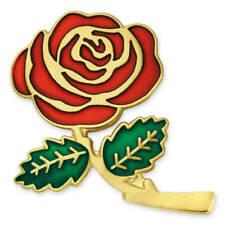 "PinMart's Colored Red Rose Flower Enamel Lapel Pin 1"""