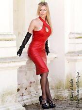 Lederkleid Leder Kleid Rot Neckholder Knielang Größe 32 - 58 XS - XXXL
