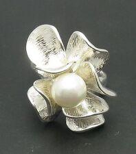 Echte Sterling Silber Ring Blume mit Perle massiv punziert 925 handgefertigt