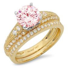 2.10ct Round Cut Pave Pink Stone Wedding Statement Ring set Real 14k 2 Tone Gold