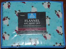 Flannel Twin Sheet Set~Counting Sheep~Sleep~ZZZ~Lamb~Blue~Aqua~Heavyweight~NEW!