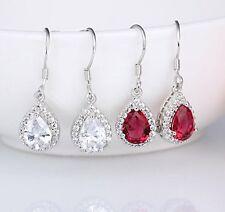Silver swarovski element crystal women tear drop dangle earrings gift box E10