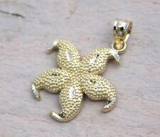 14K Yellow Gold Hawaiian Jewelry Sea life Star Fish 17mm Diamond Cut Pendant