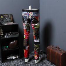 Leisure Fashion Korean Men Punk Slim Fit Causal Trousers Rock Patch Long Pants