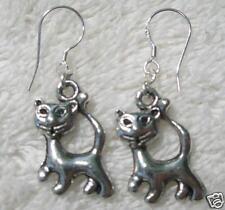 CAT Dangle EARRINGS Sterling Silver Wire Zeta Phi Beta Siamese Kitten