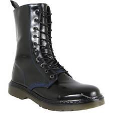 Boots And Braces Easy 10-Loch Iceland Patent Schwarz Lack Stiefel blaue Naht