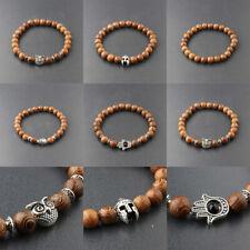 Fashion Men Women Charm 8MM Multilayer Wooden Bead Elasticity Balance Bracelets