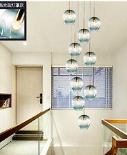 Modern LED Glass Chandelier Lobby Spiral Staircase Light Bedroom Pendant Lamps