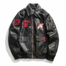 Mens Embroidery Japanese Sukajan Souvenir Leather Jacket Bomber Motorcycle Coat