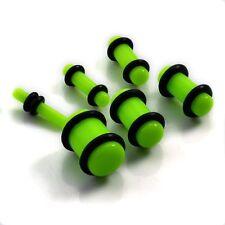 Piercing plug (tunnels ecarteur expander) vert fluo de 1.6 mm à 8 mm