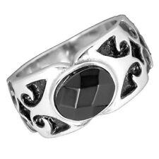 Augenschmaus... Gothic Kristall Edelstahl Stahl Ring schwarz Damen Herren Rocker