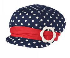 Kids Children Girls Summer Hat Cap *Navy blue with spots *Size 6 months-6yrs*