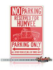 Hummer HUMVEE H1 Slantback Military Reserved Parking Sign 12x18 or 8x12 Aluminum