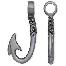 Large Roped Fish Hook 44mm Antiqued Pewter Pendant
