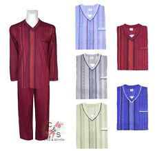 Herren Schlafanzug/ Pyjama V-Ausschnitt mit Muster Baumwolle langarm, lange Hose