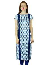 Bimba Women Blue Cotton Kurta Scoop Neck Kurti Indian Long Tunic