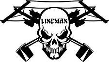 Lineman Skull Electrician Power Worker Car Truck Window Vinyl Decal Sticker